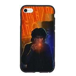 Чехол iPhone 6/6S Plus матовый Виктор Цой в ночи цвета 3D-черный — фото 1
