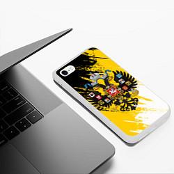 Чехол iPhone 6/6S Plus матовый Имперский флаг и герб цвета 3D-белый — фото 2