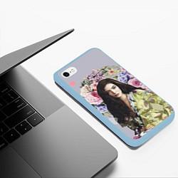 Чехол iPhone 6/6S Plus матовый Lorde Floral цвета 3D-голубой — фото 2
