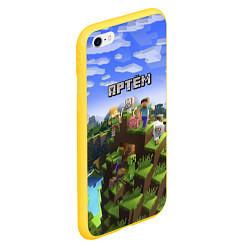 Чехол iPhone 6/6S Plus матовый Майнкрафт: Артём цвета 3D-желтый — фото 2