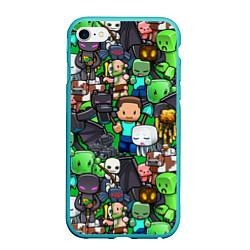 Чехол iPhone 6/6S Plus матовый Жители Майнкрафт цвета 3D-мятный — фото 1