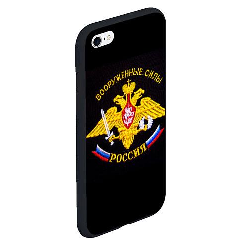 Чехол iPhone 6 Plus/6S Plus матовый ВС России: вышивка / 3D-Черный – фото 2
