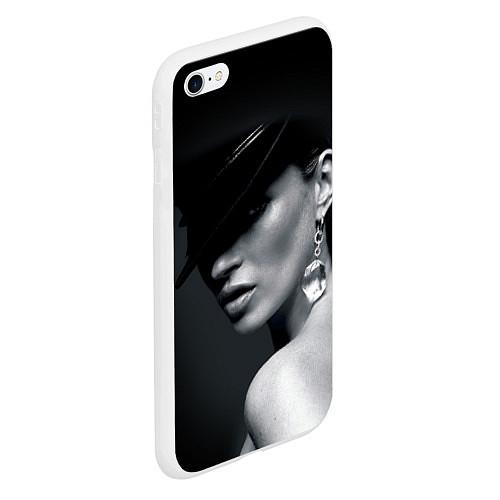 Чехол iPhone 6 Plus/6S Plus матовый Девушка в шляпе / 3D-Белый – фото 2