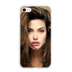 Чехол iPhone 6/6S Plus матовый Анжелина Джоли цвета 3D-белый — фото 1