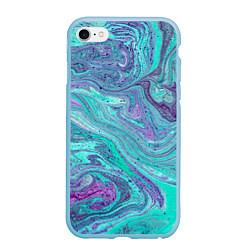 Чехол iPhone 6/6S Plus матовый Смесь красок цвета 3D-голубой — фото 1
