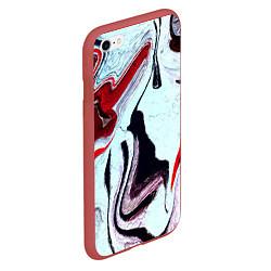 Чехол iPhone 6/6S Plus матовый Разводы цвета 3D-красный — фото 2