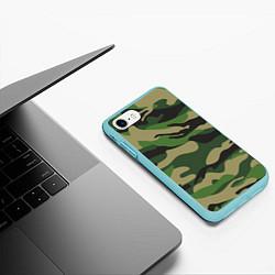 Чехол iPhone 7/8 матовый Камуфляж: хаки/зеленый цвета 3D-мятный — фото 2