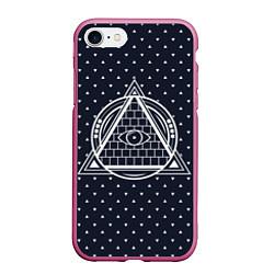 Чехол iPhone 7/8 матовый Illuminati цвета 3D-малиновый — фото 1