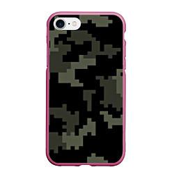 Чехол iPhone 7/8 матовый Камуфляж пиксельный: черный/серый цвета 3D-малиновый — фото 1