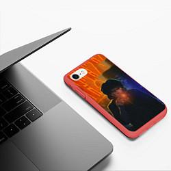 Чехол iPhone 7/8 матовый Виктор Цой в ночи цвета 3D-красный — фото 2