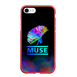 Чехол iPhone 7/8 матовый Muse: Neon Flower цвета 3D-красный — фото 1