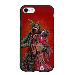 Чехол iPhone 7/8 матовый Скелеты цвета 3D-черный — фото 1