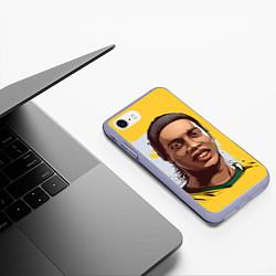 Чехол iPhone 7/8 матовый Ronaldinho Art цвета 3D-светло-сиреневый — фото 2