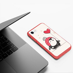 Чехол iPhone 7/8 матовый Влюбленный пингвин цвета 3D-красный — фото 2