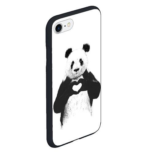 Чехол iPhone 7/8 матовый Panda Love / 3D-Черный – фото 2