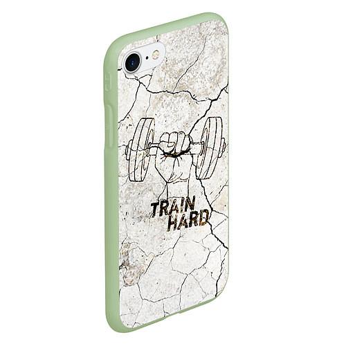 Чехол iPhone 7/8 матовый Train hard / 3D-Салатовый – фото 2