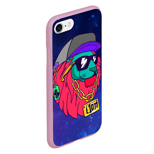 Чехол iPhone 7/8 матовый Лев SWAG / 3D-Розовый – фото 2