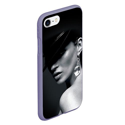 Чехол iPhone 7/8 матовый Девушка в шляпе / 3D-Серый – фото 2