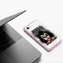 Чехол iPhone 7/8 матовый KISS: Adult demon wig цвета 3D-розовый — фото 2