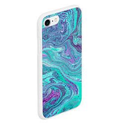Чехол iPhone 7/8 матовый Смесь красок цвета 3D-белый — фото 2