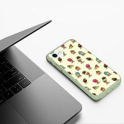 Чехол iPhone 7/8 матовый Мороженое с характером цвета 3D-салатовый — фото 2