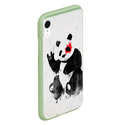 Чехол iPhone XR матовый Рок-панда цвета 3D-салатовый — фото 2