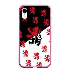 Чехол iPhone XR матовый Лев герба Нидерландов цвета 3D-малиновый — фото 1