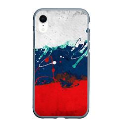 Чехол iPhone XR матовый Триколор РФ цвета 3D-серый — фото 1