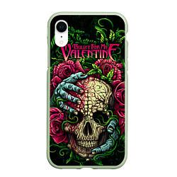Чехол iPhone XR матовый BFMV: Roses Skull цвета 3D-салатовый — фото 1