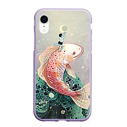 Чехол iPhone XR матовый Рыба цвета 3D-светло-сиреневый — фото 1