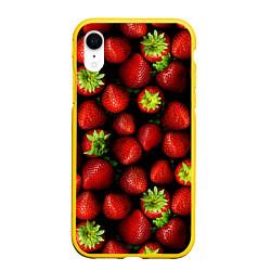 Чехол iPhone XR матовый Клубничка цвета 3D-желтый — фото 1