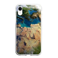 Чехол iPhone XR матовый Земля цвета 3D-белый — фото 1