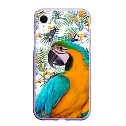 Чехол iPhone XR матовый Летний попугай цвета 3D-светло-сиреневый — фото 1