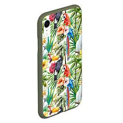Чехол iPhone XR матовый Попугаи в тропиках цвета 3D-темно-зеленый — фото 2
