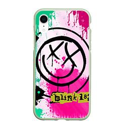 Чехол iPhone XR матовый Blink-182: Purple Smile цвета 3D-салатовый — фото 1