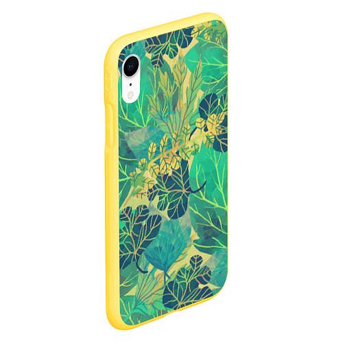 Чехол iPhone XR матовый Узор из листьев / 3D-Желтый – фото 2