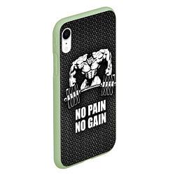 Чехол iPhone XR матовый No pain, no gain цвета 3D-салатовый — фото 2