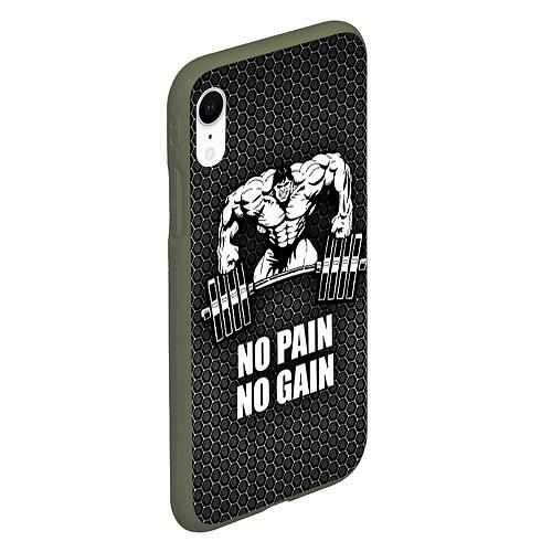 Чехол iPhone XR матовый No pain, no gain / 3D-Темно-зеленый – фото 2