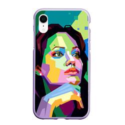 Чехол iPhone XR матовый Angelina Jolie: Art цвета 3D-светло-сиреневый — фото 1