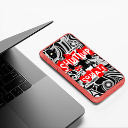 Чехол iPhone XS Max матовый Shut up & squat цвета 3D-красный — фото 2
