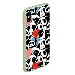 Чехол iPhone XS Max матовый Милые панды цвета 3D-салатовый — фото 2