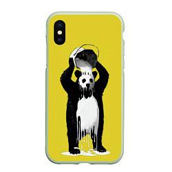 Чехол iPhone XS Max матовый Панда-маляр цвета 3D-салатовый — фото 1