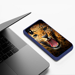 Чехол iPhone XS Max матовый Рык леопарда цвета 3D-тёмно-синий — фото 2