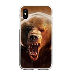 Чехол iPhone XS Max матовый Рык медведя цвета 3D-белый — фото 1