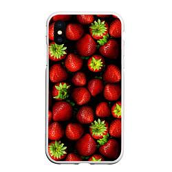 Чехол для iPhone XS Max матовый с принтом Клубничка, цвет: 3D-белый, артикул: 10065069205907 — фото 1
