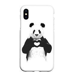 Чехол iPhone XS Max матовый Panda Love