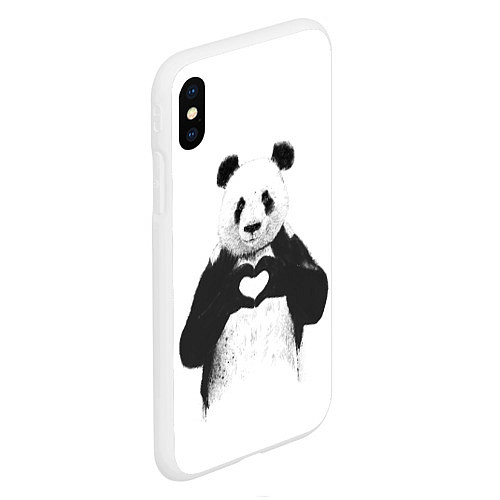 Чехол iPhone XS Max матовый Panda Love / 3D-Белый – фото 2