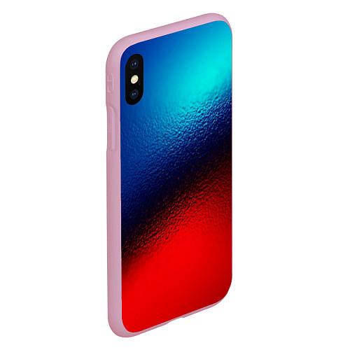Чехол iPhone XS Max матовый Синий и красный / 3D-Розовый – фото 2