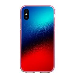 Чехол iPhone XS Max матовый Синий и красный