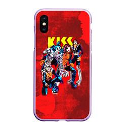 Чехол iPhone XS Max матовый KISS: Hot Blood цвета 3D-сиреневый — фото 1